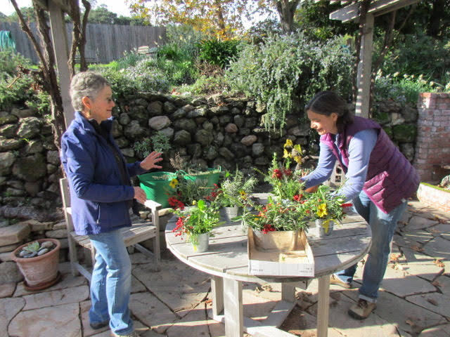 Marti and Susi making table arrangements in Mardi's lovely garden
