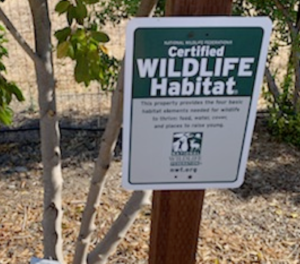 CNPS Certified Wildlife Habitat sign